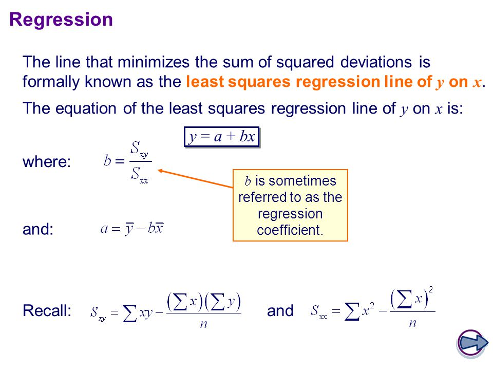 The line that minimizes the sum of squared deviations is formally known as the least squares regression line of y on x.