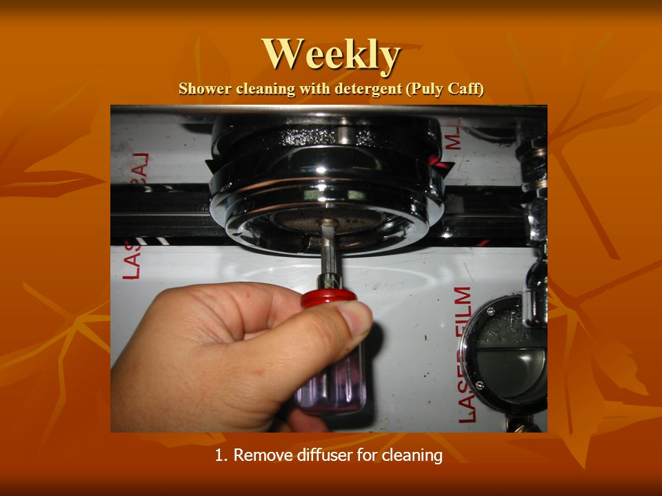 Weekly Shower cleaning with detergent (Puly Caff) 1. Remove diffuser for cleaning