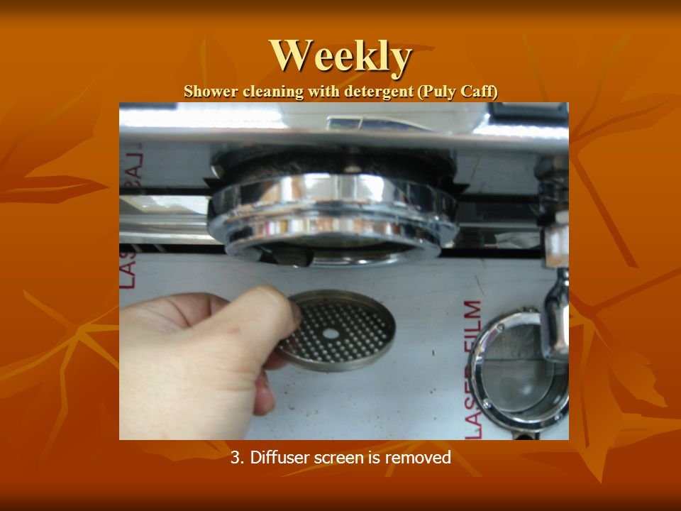 Weekly Shower cleaning with detergent (Puly Caff) 3. Diffuser screen is removed