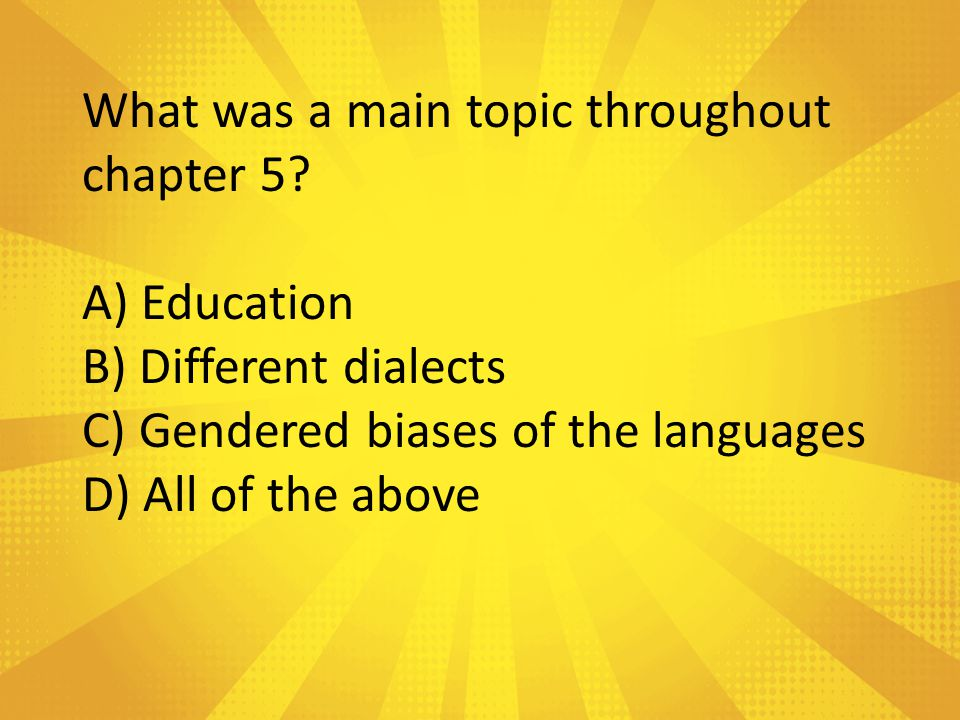 What was the setting of chapter 5? A) At school B) The Dentist C) Texas D) Church