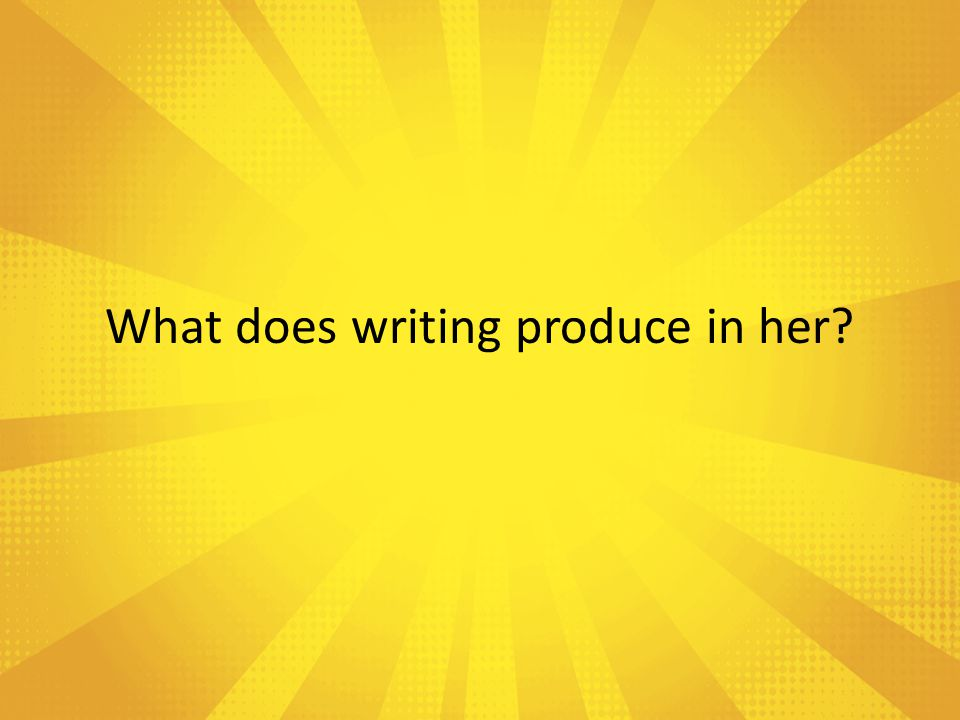 What does writing help Gloria to do?