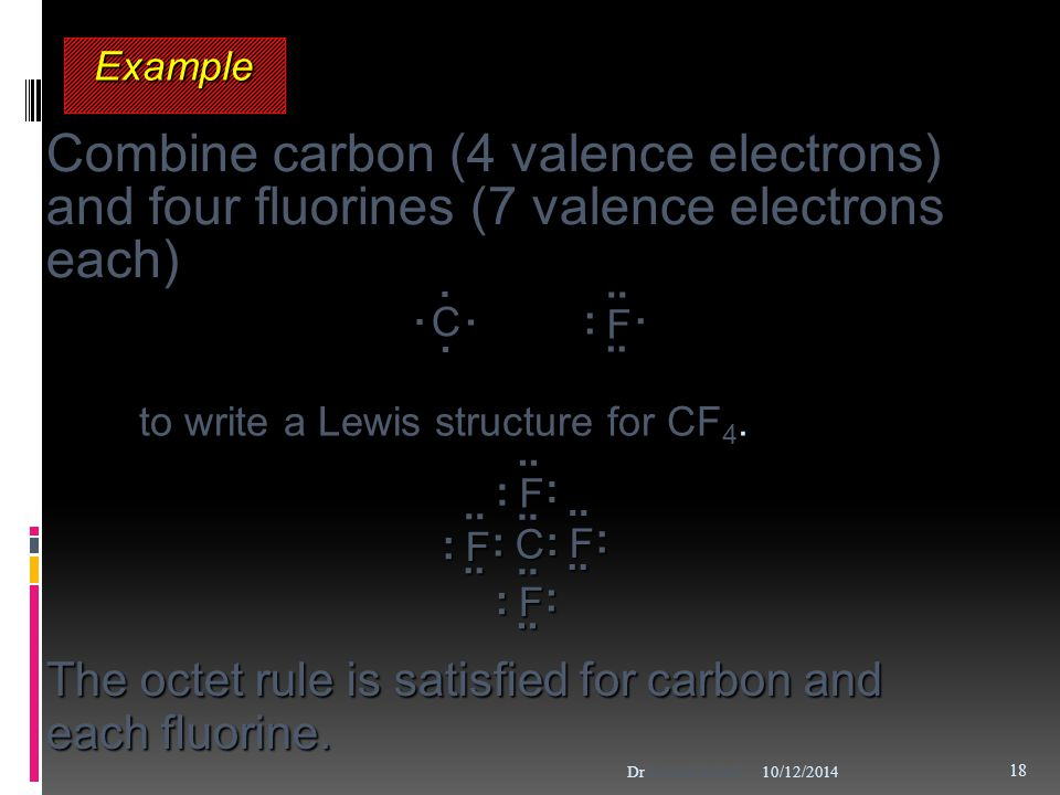 ExampleExample C.... F :..... Combine carbon (4 valence electrons) and four fluorines (7 valence electrons each) to write a Lewis structure for CF 4.