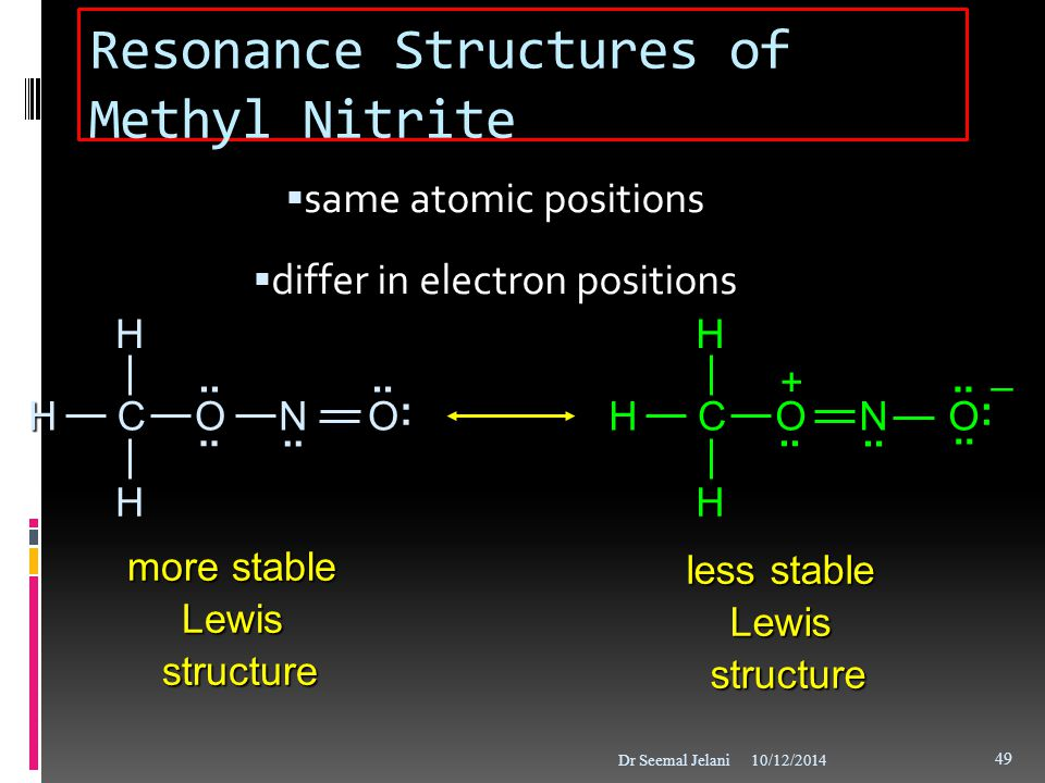Resonance Structures of Methyl Nitrite  same atomic positions  differ in electron positions 10/12/2014Dr Seemal Jelani 49 more stable Lewis structur