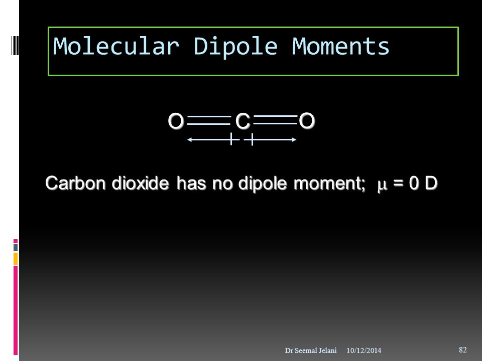 OCO Carbon dioxide has no dipole moment;  = 0 D Molecular Dipole Moments 10/12/2014Dr Seemal Jelani 82