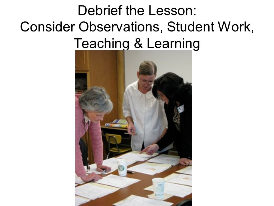 Debrief the Lesson: Consider Observations, Student Work, Teaching & Learning