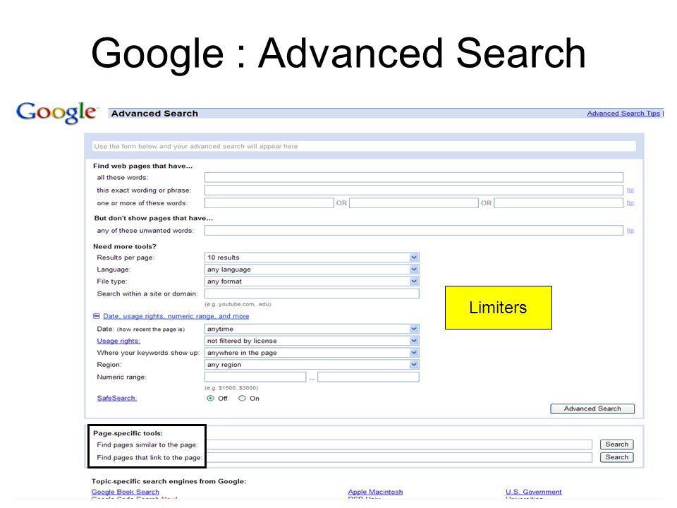 Google : Advanced Search Limiters