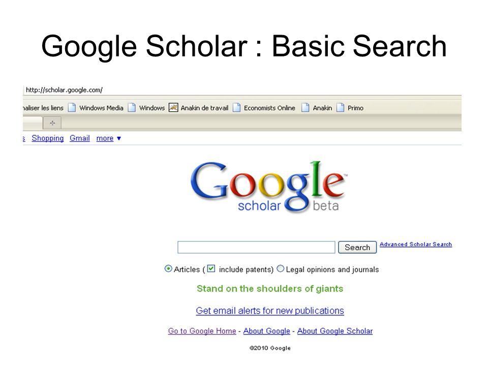 Google Scholar : Basic Search