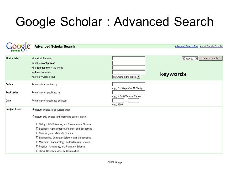 Google Scholar : Advanced Search keywords