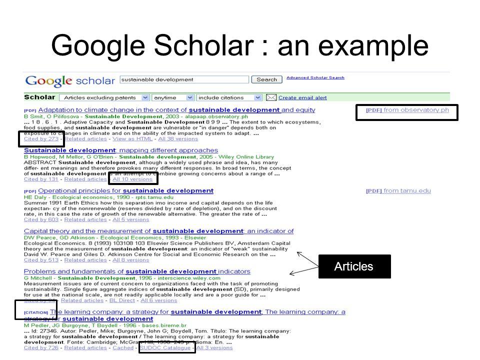 Google Scholar : an example Articles