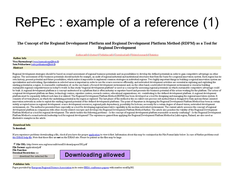 RePEc : example of a reference (1) Downloading allowed