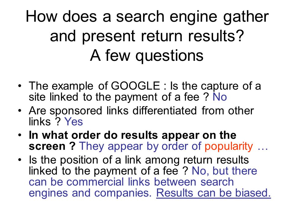 How does a search engine gather and present return results.