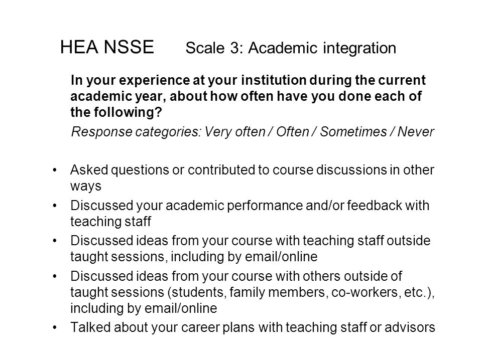 HEA NSSE Scale 3: Academic integration In your experience at your institution during the current academic year, about how often have you done each of the following.