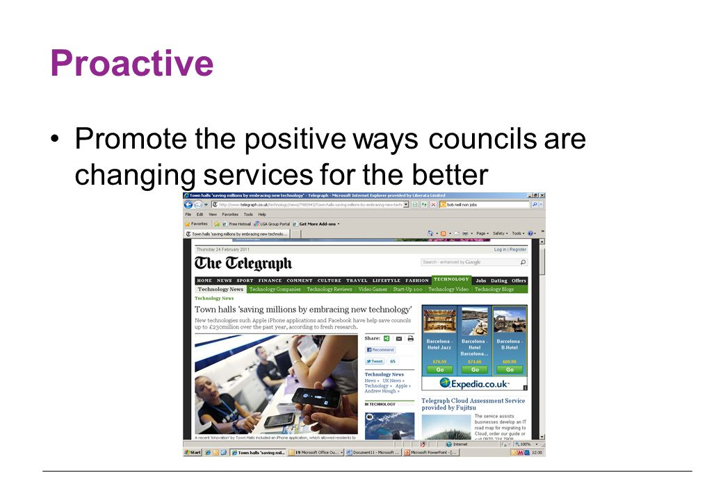 Proactive Promote the positive ways councils are changing services for the better