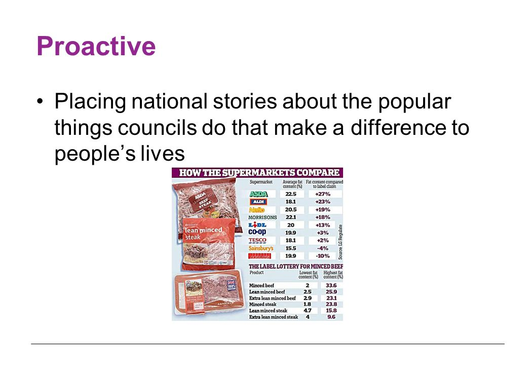 Proactive Placing national stories about the popular things councils do that make a difference to people's lives
