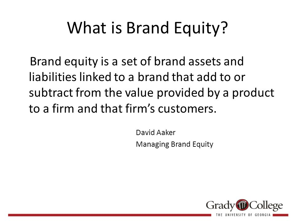 What is Brand Equity.