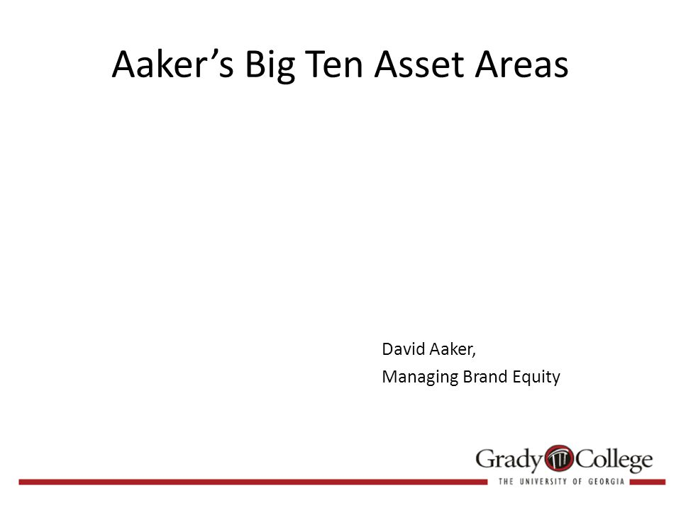 Aaker's Big Ten Asset Areas David Aaker, Managing Brand Equity