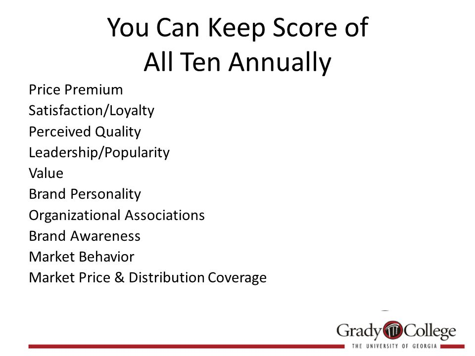 You Can Keep Score of All Ten Annually Price Premium Satisfaction/Loyalty Perceived Quality Leadership/Popularity Value Brand Personality Organizational Associations Brand Awareness Market Behavior Market Price & Distribution Coverage