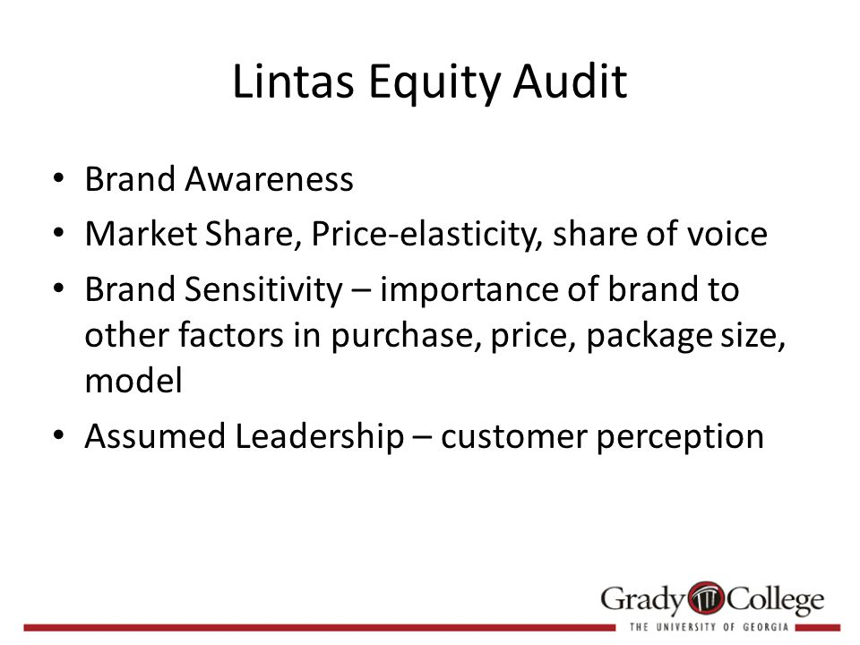 Lintas Equity Audit Brand Awareness Market Share, Price-elasticity, share of voice Brand Sensitivity – importance of brand to other factors in purchase, price, package size, model Assumed Leadership – customer perception
