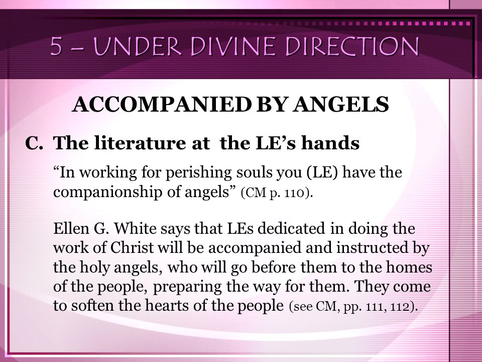 "5 – UNDER DIVINE DIRECTION ACCOMPANIED BY ANGELS C.The literature at the LE's hands ""In working for perishing souls you (LE) have the companionship of"