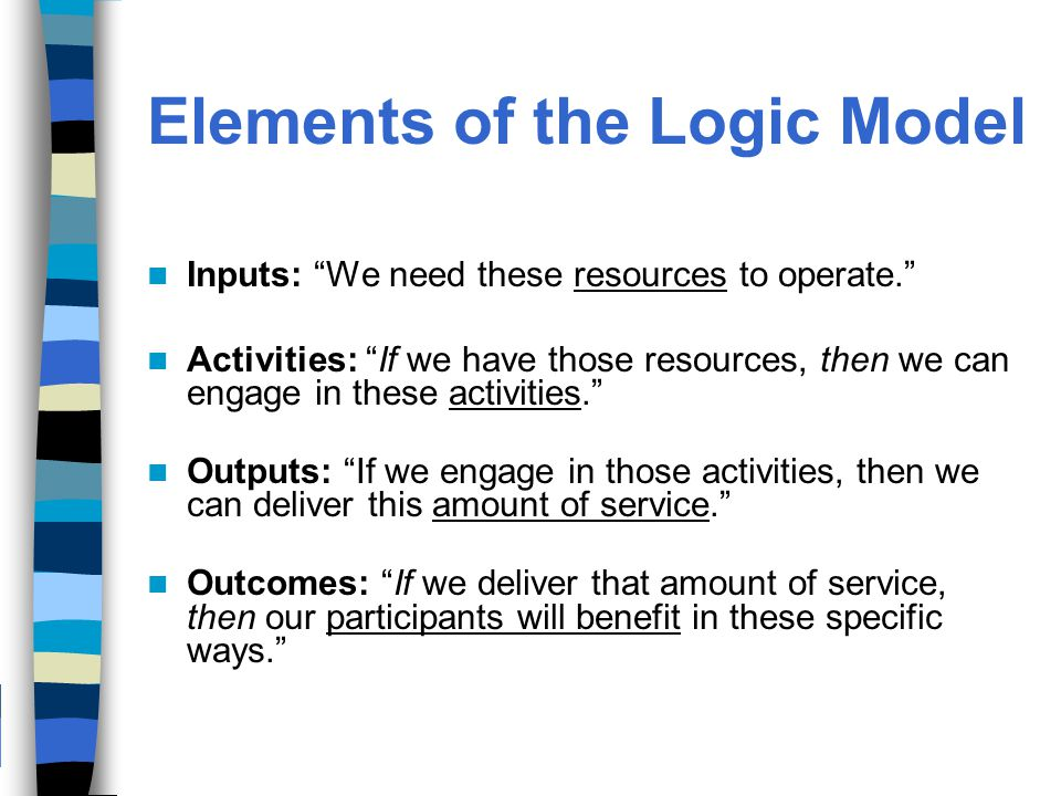 Elements of the Logic Model Inputs: We need these resources to operate. Activities: If we have those resources, then we can engage in these activities. Outputs: If we engage in those activities, then we can deliver this amount of service. Outcomes: If we deliver that amount of service, then our participants will benefit in these specific ways.