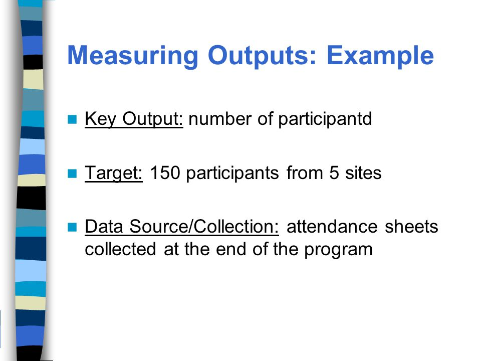 Measuring Outputs: Example Key Output: number of participantd Target: 150 participants from 5 sites Data Source/Collection: attendance sheets collected at the end of the program
