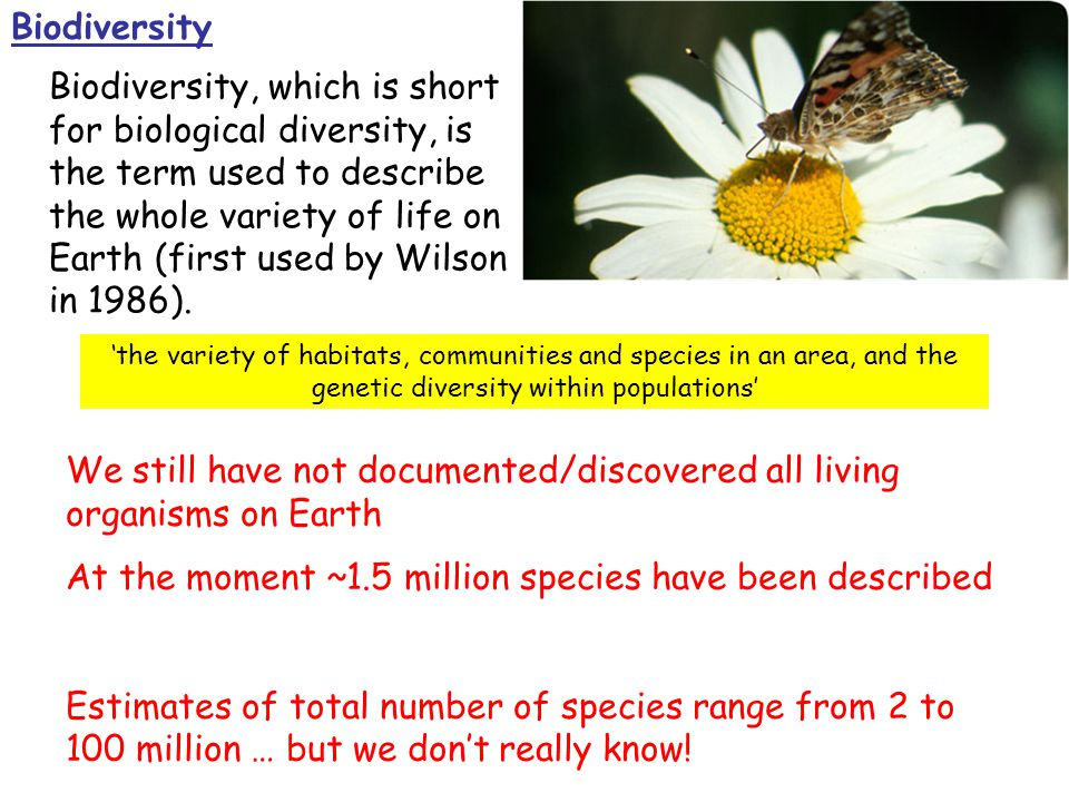 Biodiversity, which is short for biological diversity, is the term used to describe the whole variety of life on Earth (first used by Wilson in 1986).