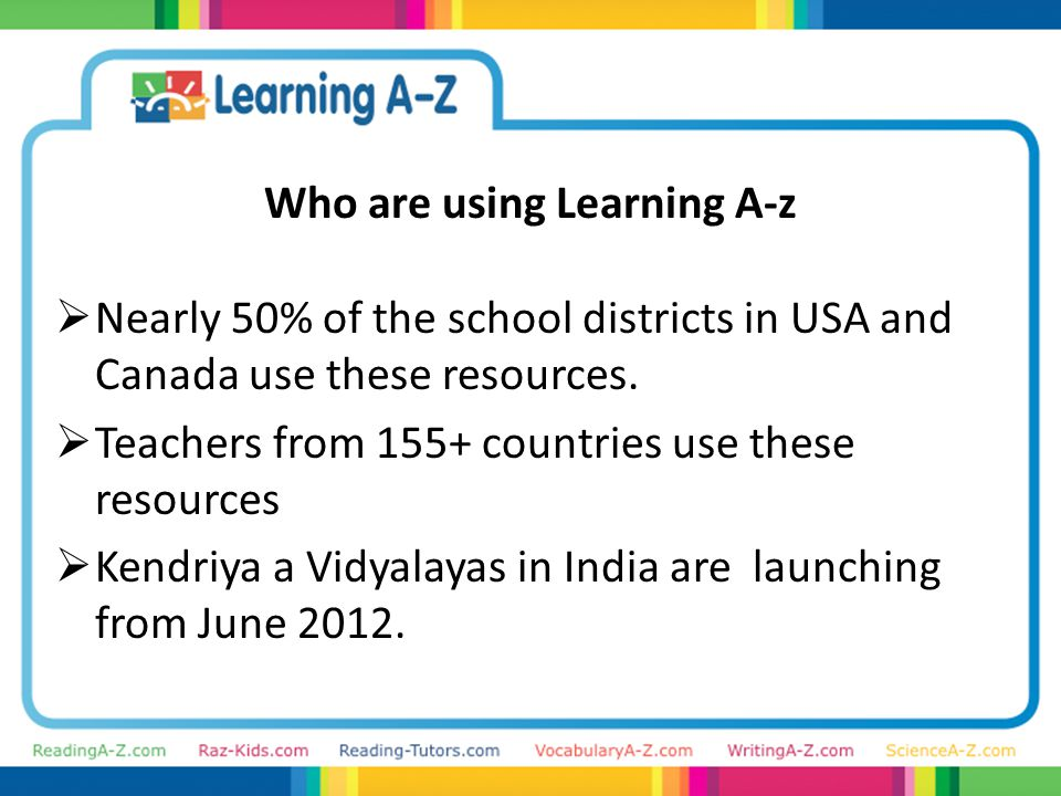 Who are using Learning A-z  Nearly 50% of the school districts in USA and Canada use these resources.
