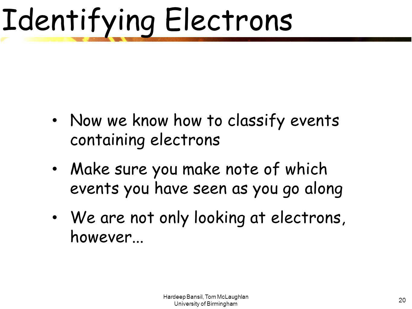 Hardeep Bansil, Tom McLaughlan University of Birmingham 20 Identifying Electrons Now we know how to classify events containing electrons Make sure you make note of which events you have seen as you go along We are not only looking at electrons, however...