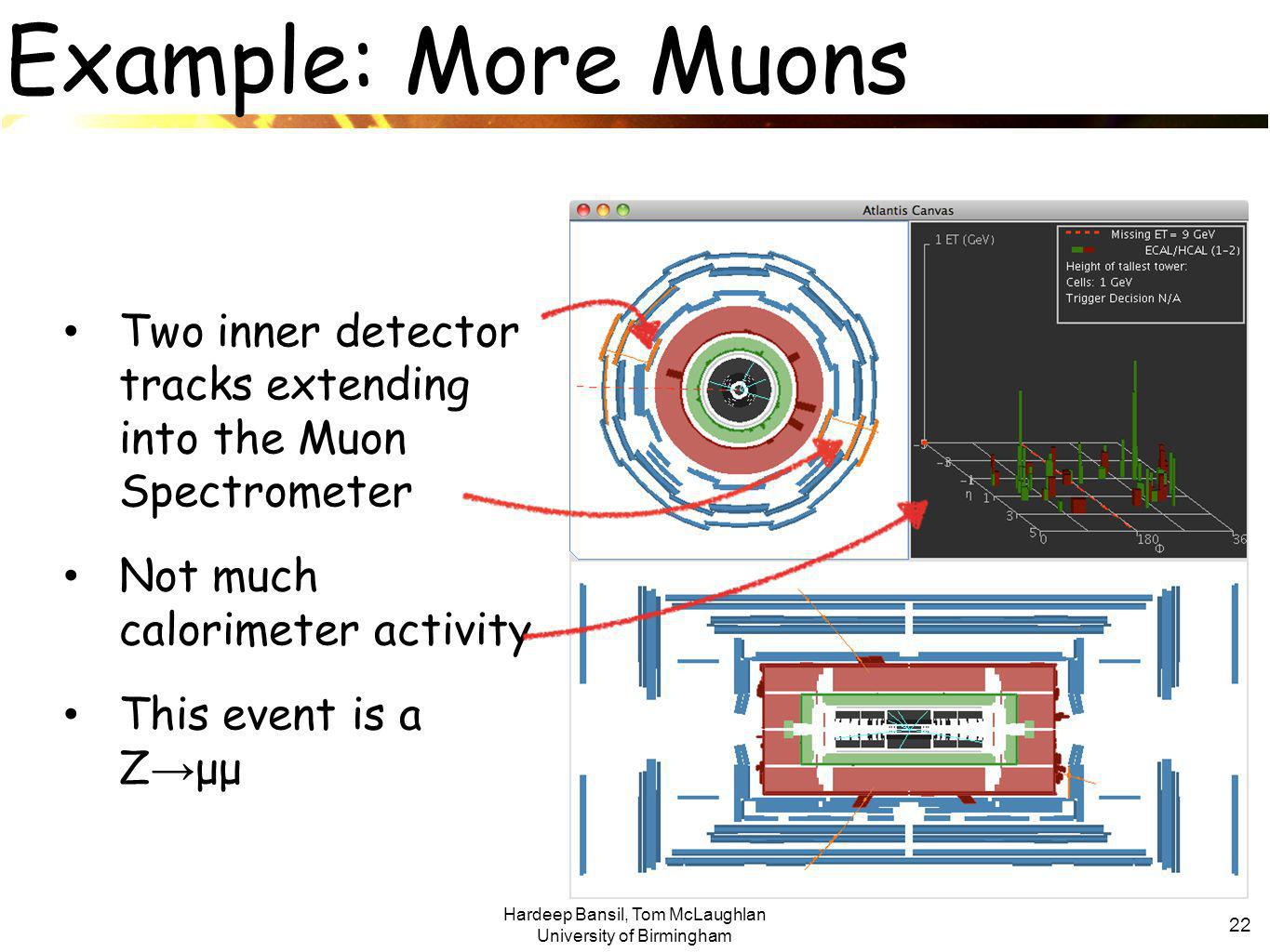 Hardeep Bansil, Tom McLaughlan University of Birmingham 22 Example: More Muons Two inner detector tracks extending into the Muon Spectrometer Not much calorimeter activity This event is a Z → μμ