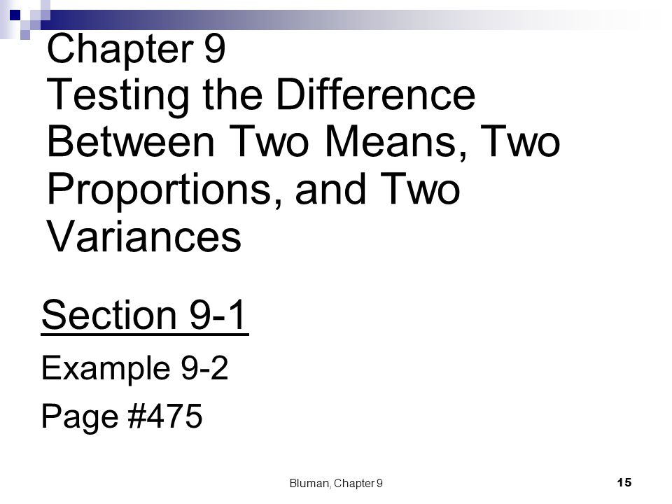 Chapter 9 Testing the Difference Between Two Means, Two Proportions, and Two Variances Section 9-1 Example 9-2 Page #475 Bluman, Chapter 9 15