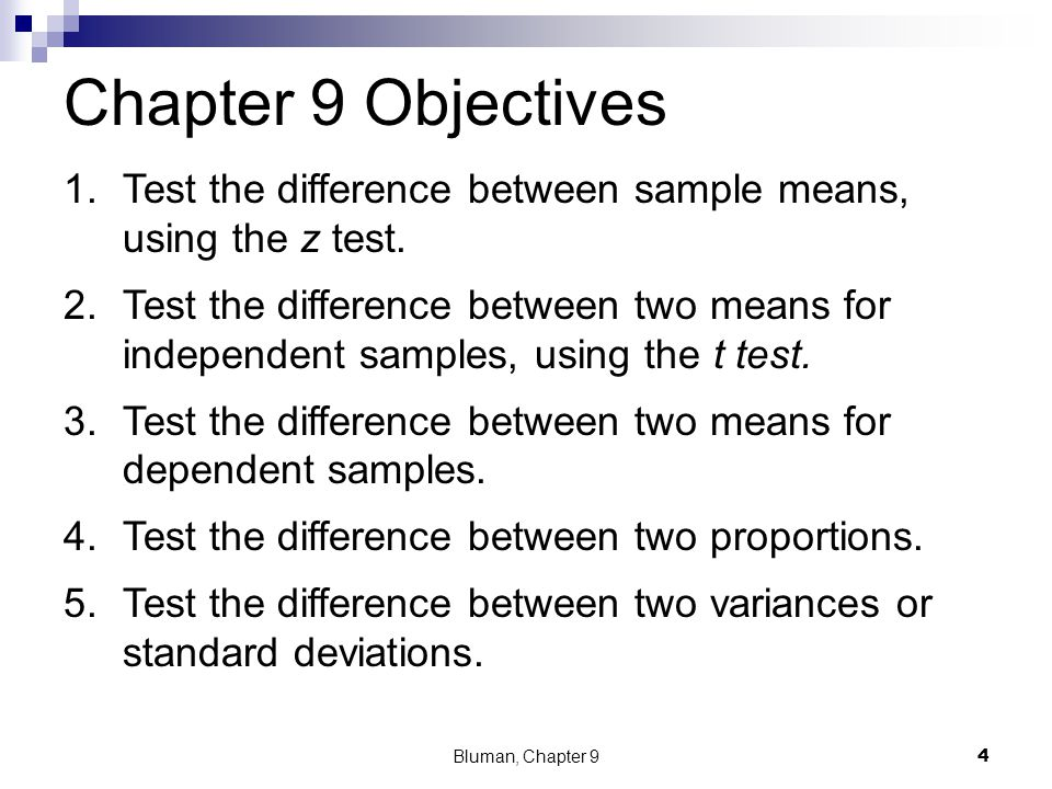 Chapter 9 Objectives 1.Test the difference between sample means, using the z test. 2.Test the difference between two means for independent samples, us