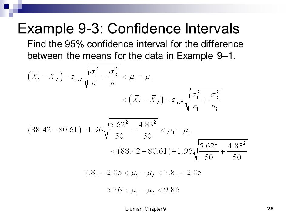 Example 9-3 Find the 95% confidence interval for the difference between the means for the data in Example 9-1. A survey found that the average hotel r