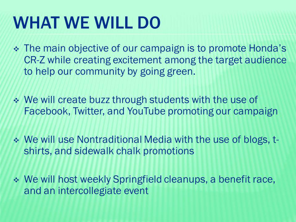WHO WILL BE INVOLVED  Our campaign will focus on working with the four colleges that are located in Springfield, MA  We also will work to get the target audience age group by working with Sophia Sports Bar and Paddy's Pub.