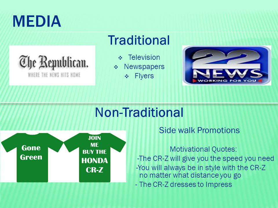 MEDIA Traditional  Television  Newspapers  Flyers Non-Traditional Side walk Promotions Motivational Quotes: -The CR-Z will give you the speed you n