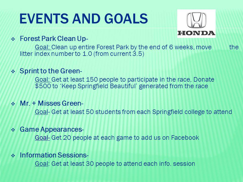 EVENTS AND GOALS  Forest Park Clean Up- Goal: Clean up entire Forest Park by the end of 6 weeks, move the litter index number to 1.0 (from current 3.
