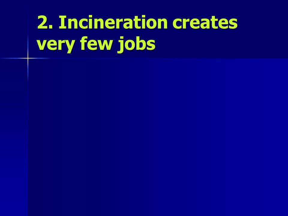 2. Incineration creates very few jobs
