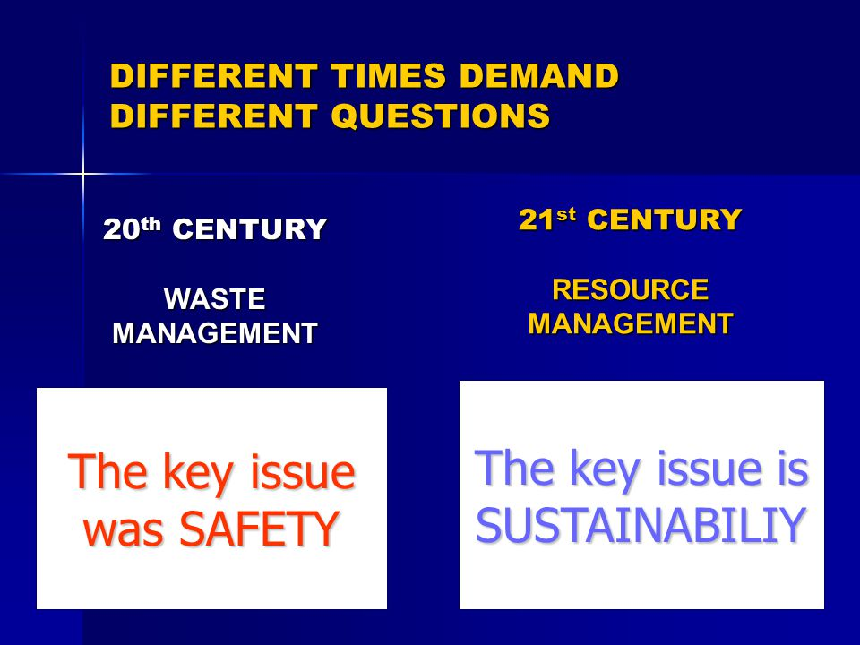 DIFFERENT TIMES DEMAND DIFFERENT QUESTIONS 20 th CENTURY WASTE MANAGEMENT How do we get rid of our waste efficiently with minimum damage to our health and the environment 21 st CENTURY RESOURCE MANAGEMENT How do we handle our discarded resources in ways which do not deprive future generations of some, if not all, of their value The key issue was SAFETY The key issue is SUSTAINABILIY