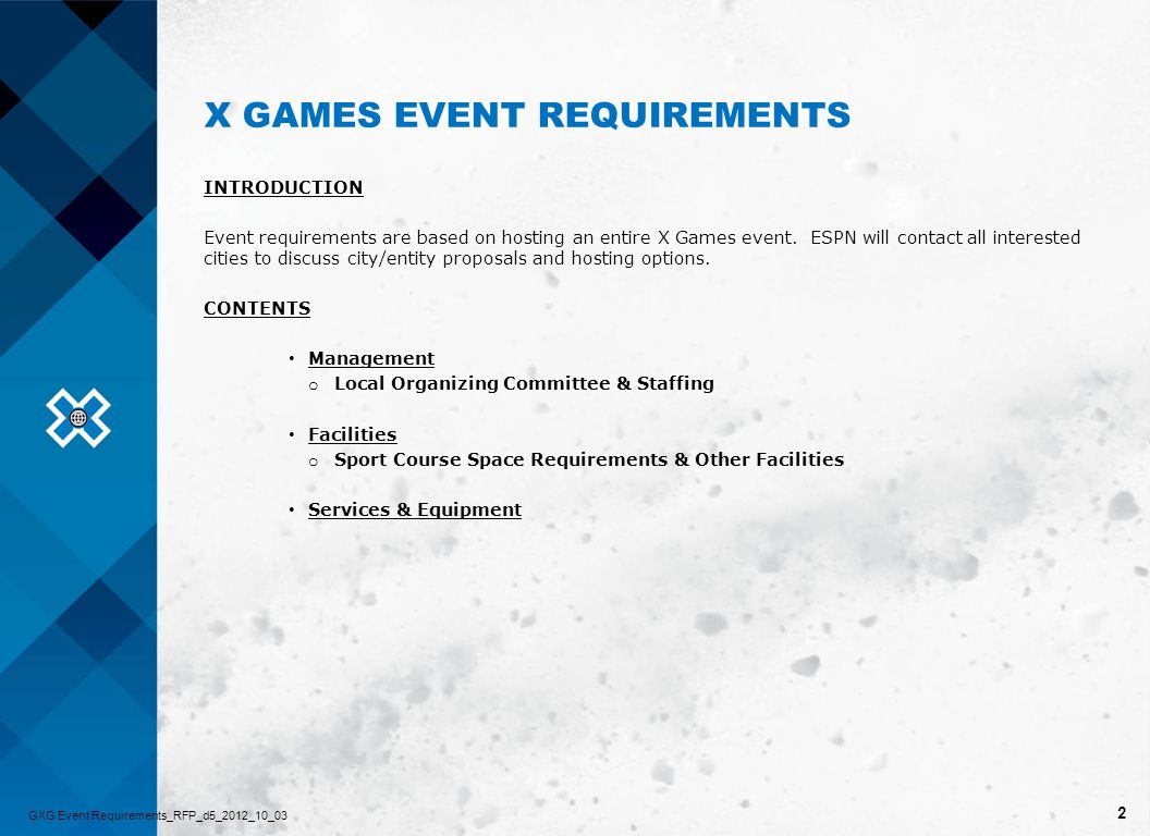 3 MANAGEMENT LOCAL ORGANIZING COMMITTEE & STAFFING GXG Event Requirements_RFP_d5_2012_10_03