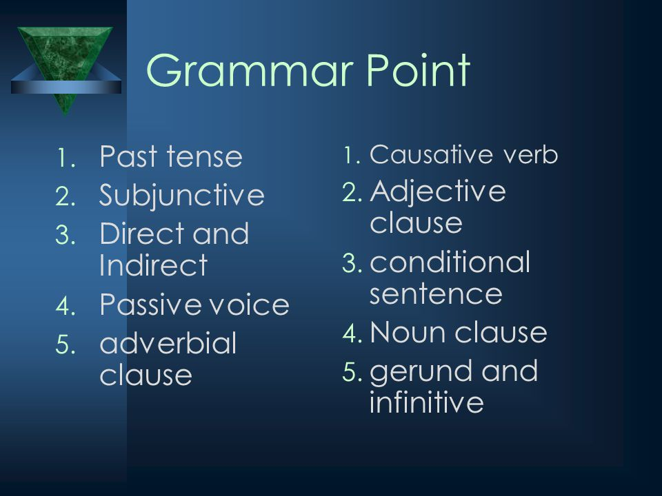 Grammar Point 1.Past tense 2. Subjunctive 3. Direct and Indirect 4.