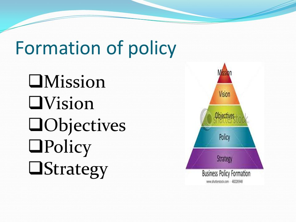 Formation of policy  Mission  Vision  Objectives  Policy  Strategy