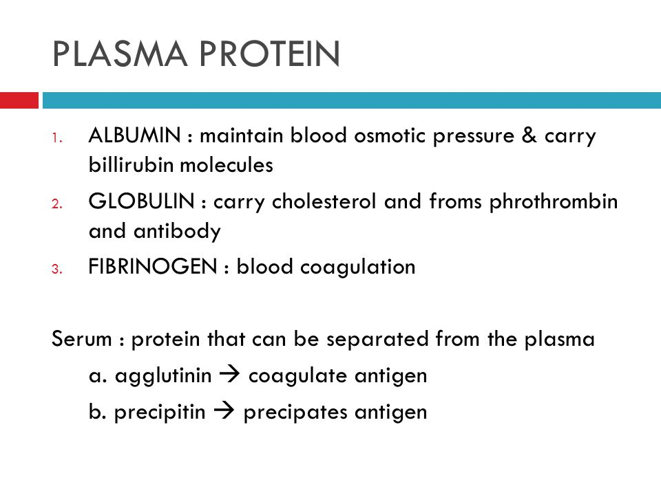 PLASMA PROTEIN 1. ALBUMIN : maintain blood osmotic pressure & carry billirubin molecules 2.