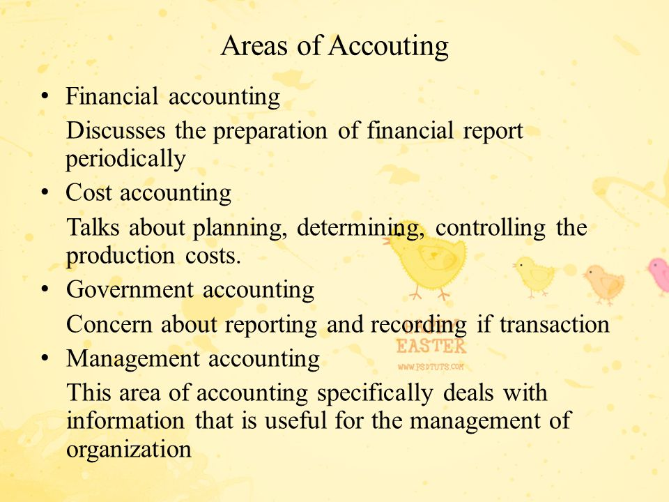 Areas of Accouting Financial accounting Discusses the preparation of financial report periodically Cost accounting Talks about planning, determining,