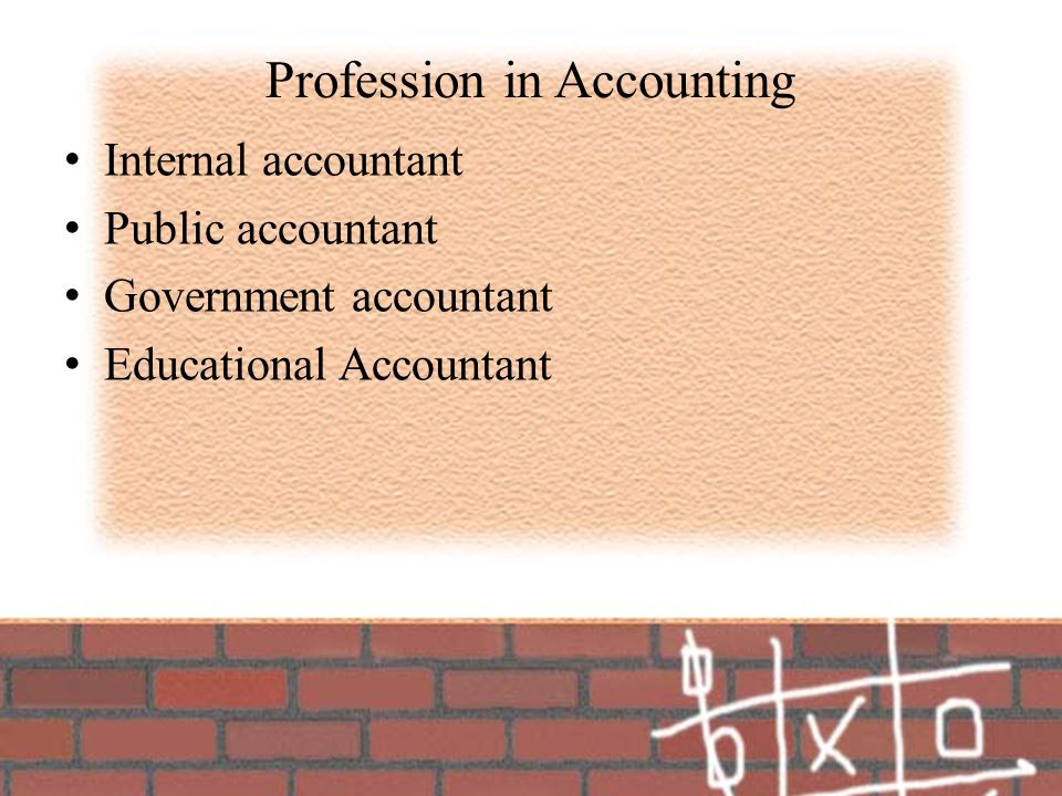 Profession in Accounting Internal accountant Public accountant Government accountant Educational Accountant