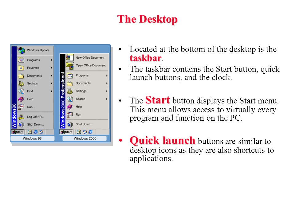 The Desktop taskbarLocated at the bottom of the desktop is the taskbar. The taskbar contains the Start button, quick launch buttons, and the clock. St