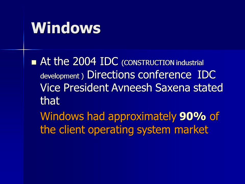 Market share Source http://en.wikipedia.org Windows Version Market share All versions 92.42% All versions 92.42% Windows XP 78.37% Windows XP 78.37% Windows Vista 9.19% Windows Vista 9.19% Windows 2000 2.97% Windows 2000 2.97% Windows 98 0.76% Windows 98 0.76% Windows NT 0.63% Windows NT 0.63% Windows ME 0.43% Windows ME 0.43% Windows CE 0.06% Windows CE 0.06% Windows 95 0.02% Windows 95 0.02%