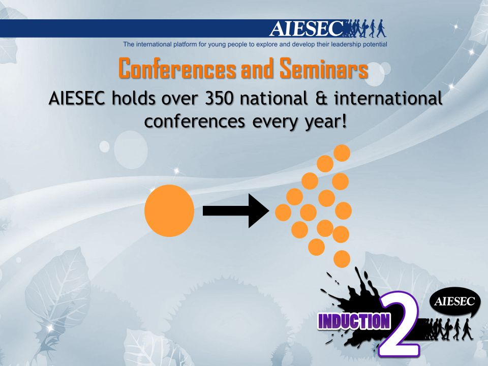 Conferences and Seminars AIESEC holds over 350 national & international conferences every year!