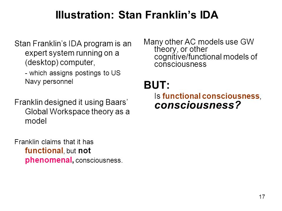 17 Illustration: Stan Franklin's IDA Stan Franklin's IDA program is an expert system running on a (desktop) computer, - which assigns postings to US N
