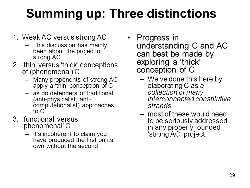 29 Summing up: Three distinctions 1.Weak AC versus strong AC –This discussion has mainly been about the project of strong AC 2.'thin' versus 'thick' c