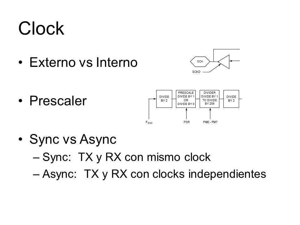 Clock Externo vs Interno Prescaler Sync vs Async –Sync: TX y RX con mismo clock –Async: TX y RX con clocks independientes