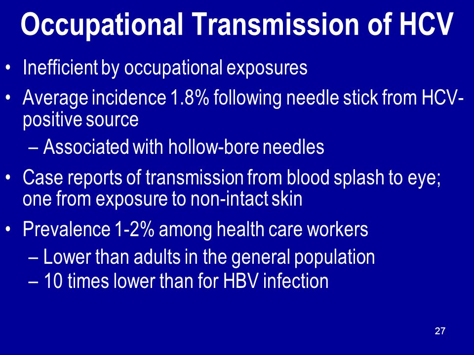Occupational Transmission of HCV Inefficient by occupational exposures Average incidence 1.8% following needle stick from HCV- positive source –Associ